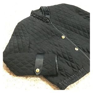 Black quilted short dress jacket